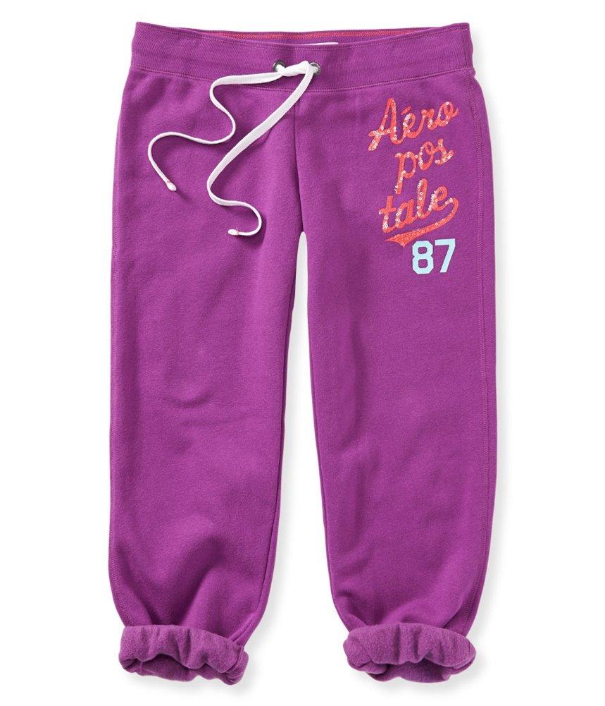 Aeropostale Womens Slim Cinched Capri Athletic Sweatpants Purple XS/22 - Juniors