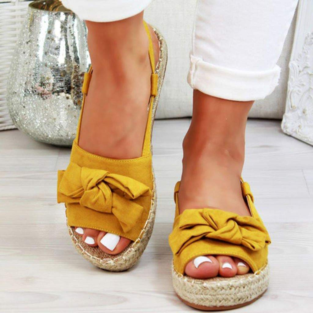 ✔ Hypothesis_X ☎ Women's Double Strap Cork Sole Slide Sandal Peep Toe Butterfly Knot Buckle Strap Sandals Yellow by ✔ Hypothesis_X ☎ Shoes (Image #3)