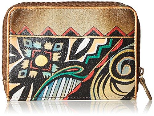 Anuschka con Portafoglio Dipinto di di pelle con di per nbsp; Donna astuccio aaz regali compleanno donna Aztec a carte per regalo 1124 credito Natale vecchio cerniera in e mano rrqTI