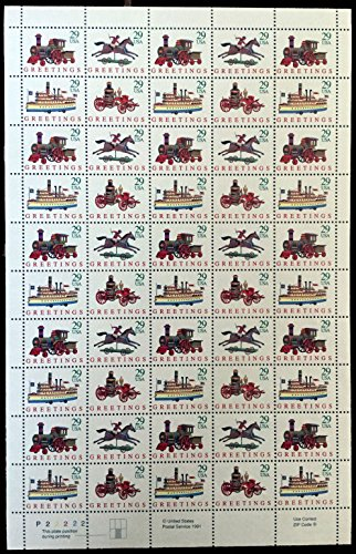 Antique Toys Stamps - US Stamps - 1992 Antique Christmas Toys - 50 Stamp Sheet - #2711-4