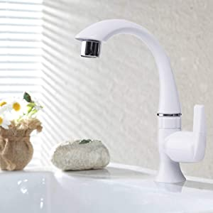 Cold Water Bathroom Sink Faucet Single Handle Single Hole Outdoor Garden Bar Sink Faucet Grifo,Hole Cover Plate for Kitchen, Garage Wash Basin,Lavatory Room Tub,Utility,Camping Sink,Non-Metallic,White