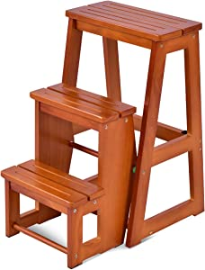 Costzon Folding Step Stool 3 Tier Wood Ladder, 3-in-1 Design with Ladder, Stool and Storage Shelf, Multifunction Pine Wood Foldable Ladder for Home, Library, 300kg Capacity (Nut-Brown)
