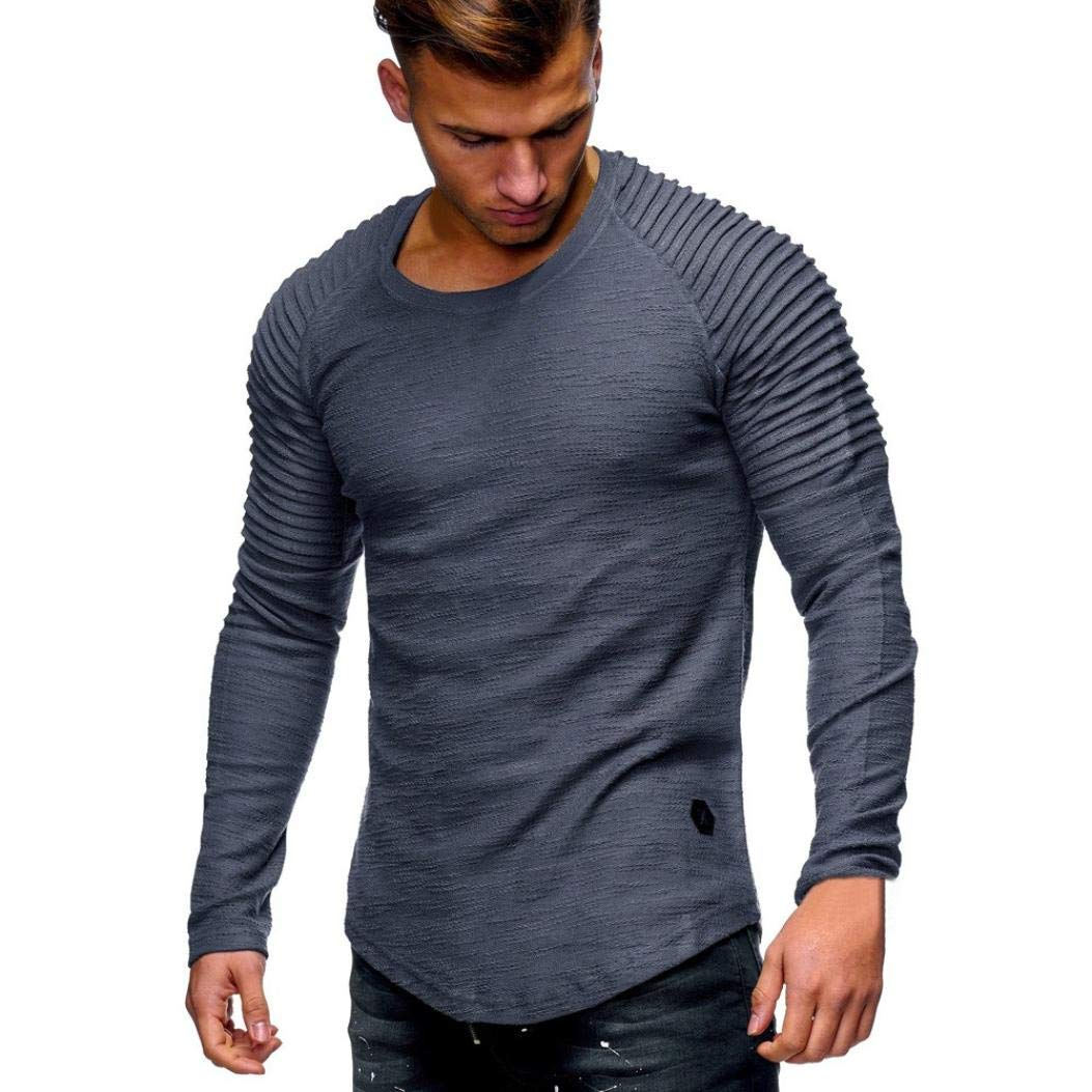 T-Shirt à Manches Longues - Covermason Hommes Casual Tops à Manches Longues T-Shirt de Couleur Unie Oversize Slim Occasionnel Col Rond Tee Top Haut Chemisier