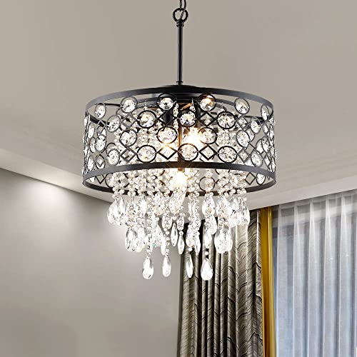 Modern Crystal Chandeliers with 5 Lights Pendant Light with Crystal Drops,Ceiling Light Fixture for Dining Room, Bedroom, Living Room Black
