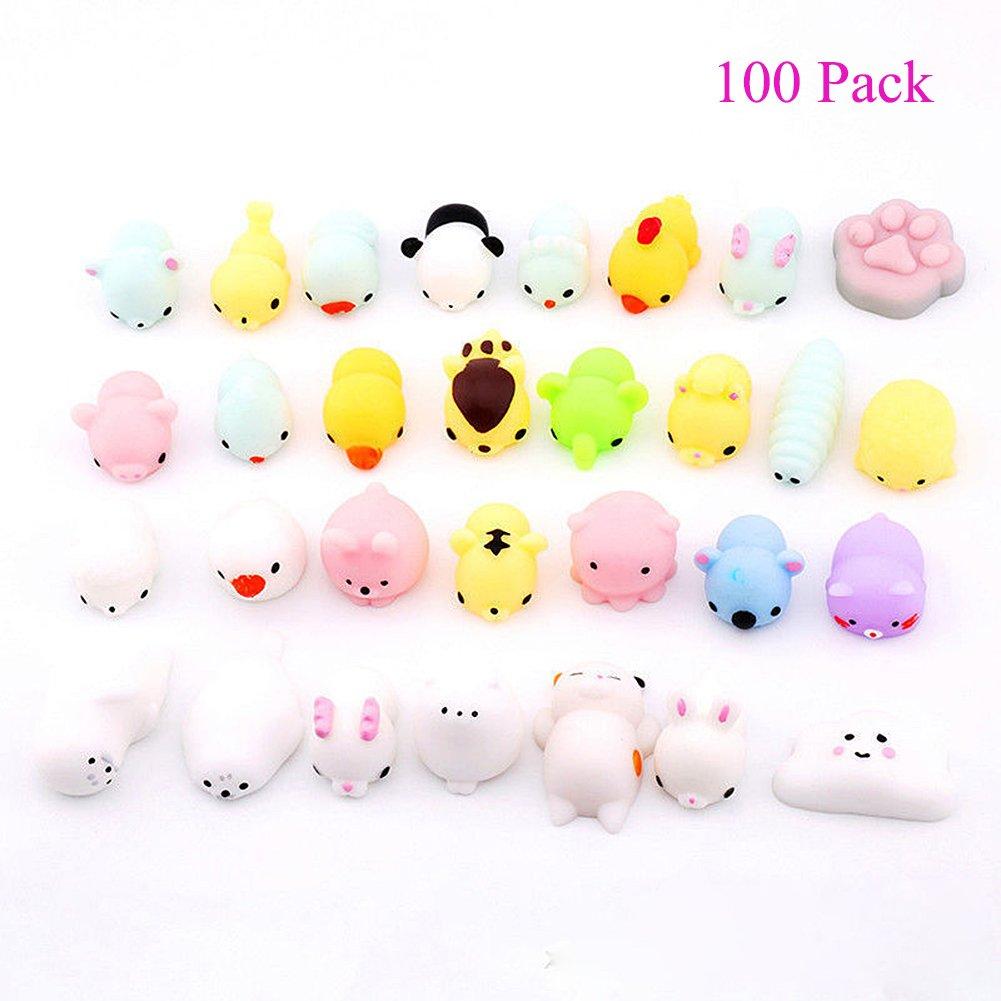 Magik 25~100 Pack Squishy Lot Slow Rising Fidget Toy Kawaii Cute Mini Animal Hand Toys (100 Pack)