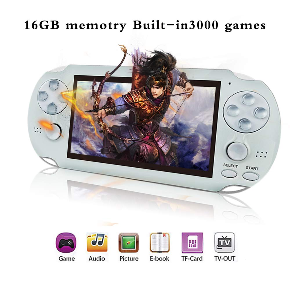 BAORUITENG Handheld Game Console , Retro Game Console with 3000 Classic Games 4.3'' 64 Bit Portable Game Console Support / Camera GBA / GBC / SEGA / NES / SFC / NEOGEO and Loss-Less Music (White) by BAORUITENG (Image #1)