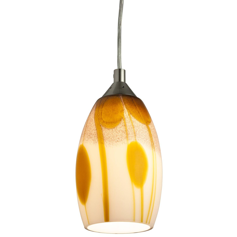 Brushed Nickel Finish Sahara Glass Sunshine Lighting Sunlite LFX//DSG//PD//D//9W//SAH 11 LED Designers Glass Decorative Pendants Dimmable Fixture