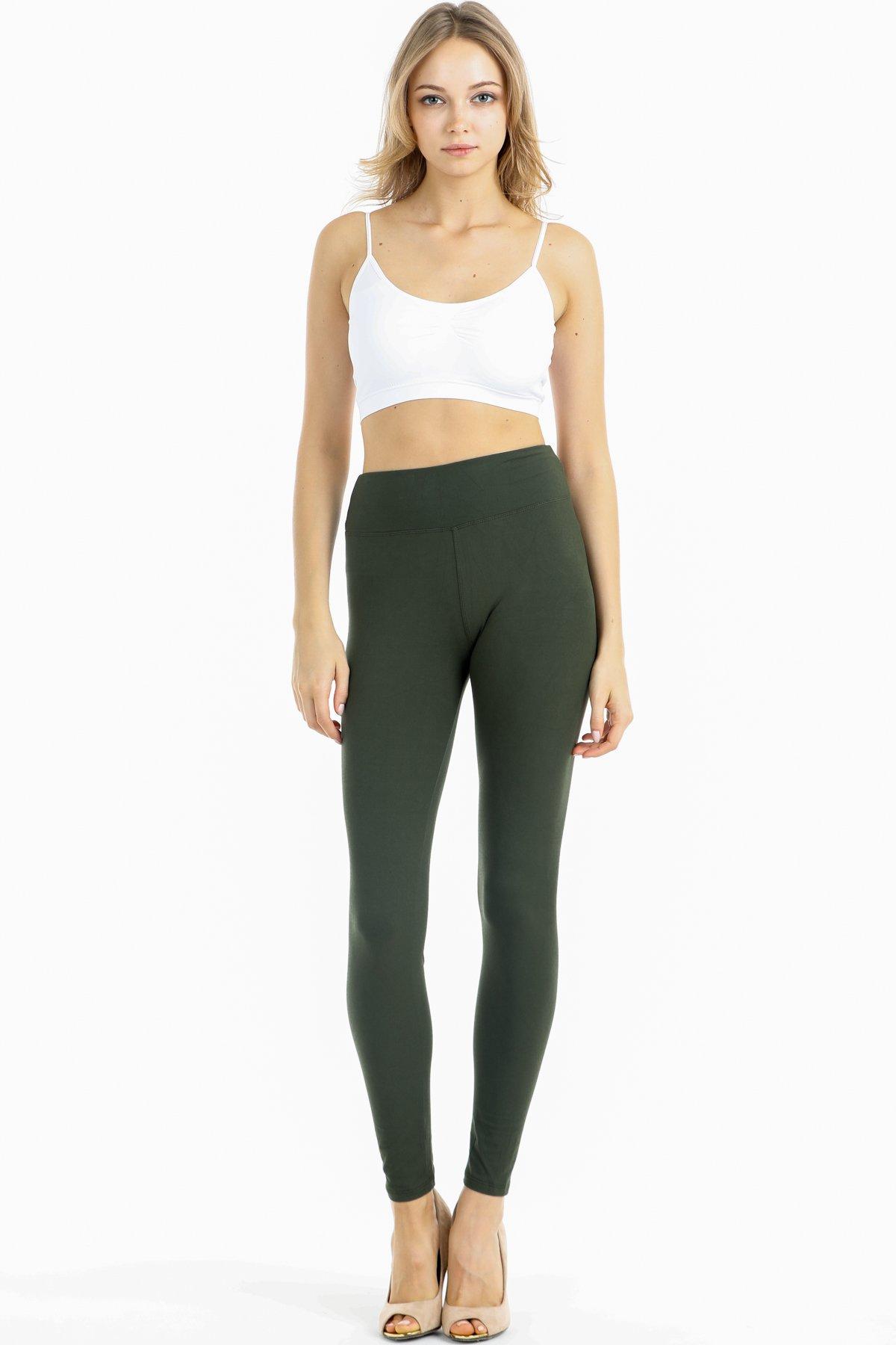 Silky Soft Non See Thru High Waist Premium Yoga Leggings (Plus Size(12-22), Olive)