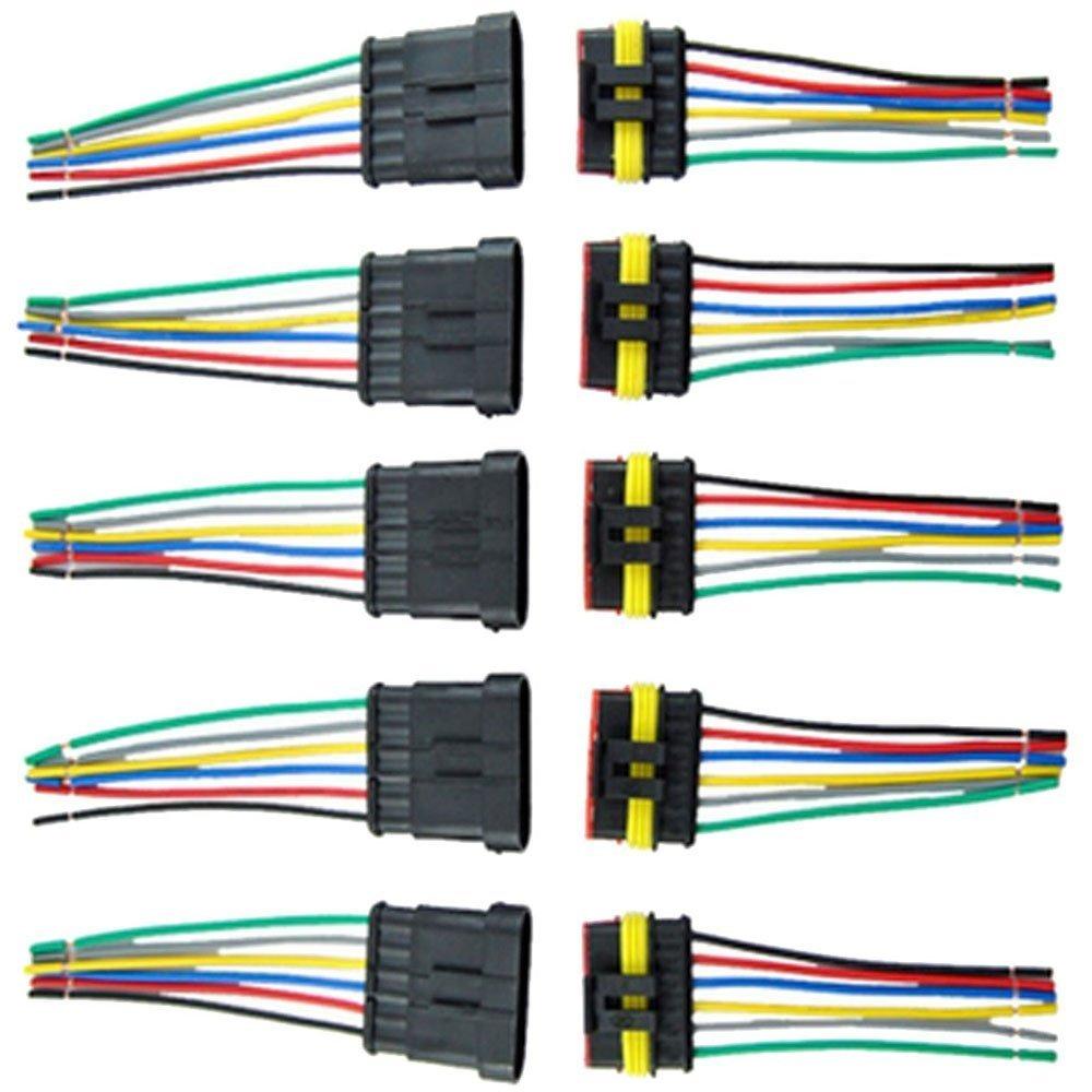 E Support/™ 5 X Connecteur Electrique Etanche Prise 3 Pin Kit avec Fil AWG pour Voiture Connecteur auto c?bler