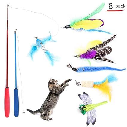 Decdeal Juguete de Plumas de Gato Juguete Interactivo con Pluma ...