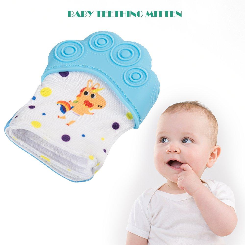 HALOViE Gant de Dentition Bébé en Silicone Protéger Bébé Mains Moufles Bébé pour Douleur de Dentition Apaisante Anneau de Dentition Bébé 3–18 mois 1 PCS
