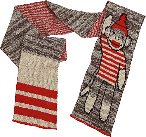 Green 3 Striped Novelty Fashion Sweater Knit Scarf (Chocolate Brown/Red Sock Monkey) - Womens Recycled Cotton Fashion Scarf, Made in The USA (One Size)