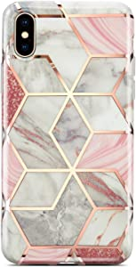 Coolwee for iPhone Xs Max Case Marble Slim Fit Bling Glitter Sparkle Bumper Foil Stripe Thin Cute Design Glossy Finish Soft TPU Girl Women Protective Cover for Apple iPhone Xs Max 6.5 inch Rose Gold