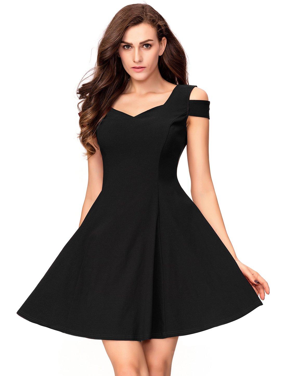 InsNova Women's Off Shoulder Little Cocktail Party A-line Skater Dress (X-Small, Black)