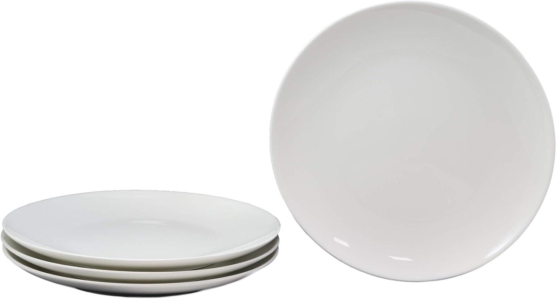 Ebros Pack Of 4 Kitchen Dining Modern Contemporary Sleek Design Natural White Porcelain Round Plates Restaurant Supply Dishwasher And Microwave Safe (10