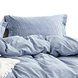 Wake In Cloud - Washed Cotton Duvet Cover Set, White Striped Ticking Pattern Printed on Navy Blue, 100% Cotton Bedding, with Zipper Closure (3pcs, Queen Size)