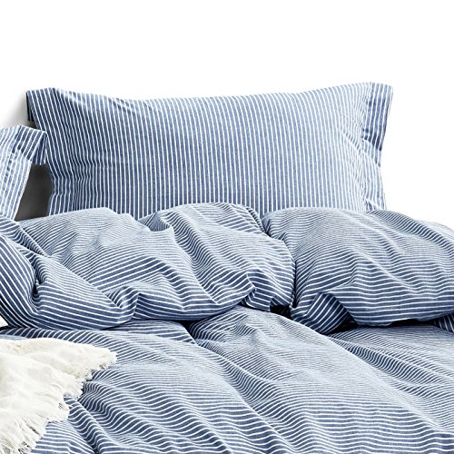 (Wake In Cloud - Washed Cotton Duvet Cover Set, White Striped Ticking Pattern Printed on Navy Blue, 100% Cotton Bedding, with Zipper Closure (3pcs, Full)