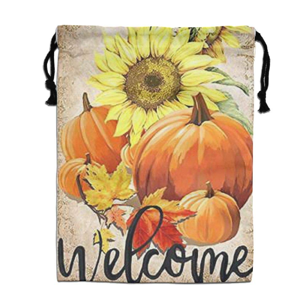 Custom Drawstring Bag,Welcome-Pumpkin Holiday/Party/Christmas Tote Bag 15.7(H)x 11.8(W) in