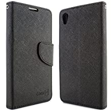 Sony Xperia Z5 Wallet Case, CoverON® [CarryAll Series] Flip Folio Card Slot Pouch Cover Screen Protector + Strap Case For Sony Xperia Z5 - Black