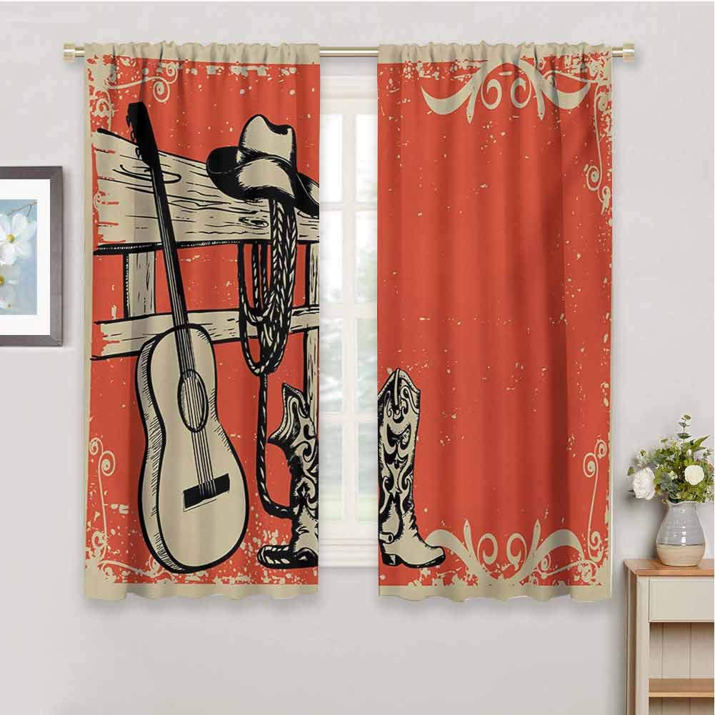 Gloria Johnson Westernkids curtainsImage of Wild West Elements with Country Music Guitar and Cowboy Boots Retro Artsoundproof curtainBeige Orange84 x 72 inch by Gloria Johnson