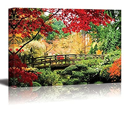 Canvas Prints Wall Art - A Bridge in an Asian Garden During Fall Season. | Modern Wall Decor/Home Decoration Stretched Gallery Canvas Wrap Giclee Print. Ready to Hang - 12