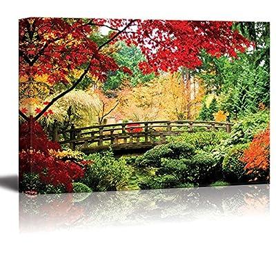 A Bridge in an Asian Garden During Fall Season Wall Decor, Professional Creation, Grand Artistry