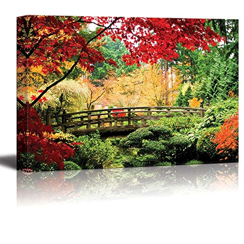 wall26 - Canvas Prints Wall Art - A Bridge in an Asian Garden During Fall Season. | Modern Wall Decor/Home Decoration Stretched Gallery Canvas Wrap Giclee Print. Ready to Hang -32
