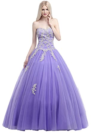 Okaybrial Womens Girls Prom Dresses Sweetheart Neck Tulle Appliqued Puffy Quinceanera Dresses