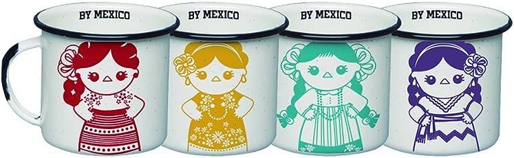 By Mexico Mini Pocillos de Peltre 85 mililitros modelo Indias Colores set de 4