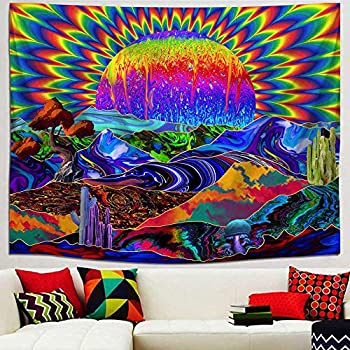 Amazon Com Funeon Trippy Tapestry Wall Hanging Psychedelic Colorful Sun Tapestry For Bedroom Hippie Trippy Wall Tapestries Cool Large Tapistry For Teen Girl College Dorm Indie Room Decor Aesthetic 82x60 Inch Home