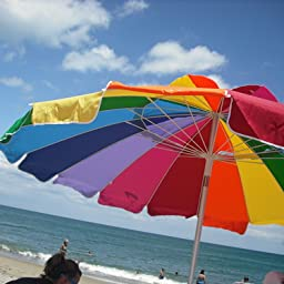 Amazon Com Rainbow 8 Ft Beach Umbrella With Tellon Coated Weatherproof Polyester Cover And Carry Bag Uvf 50 Patio Umbrellas Garden Outdoor