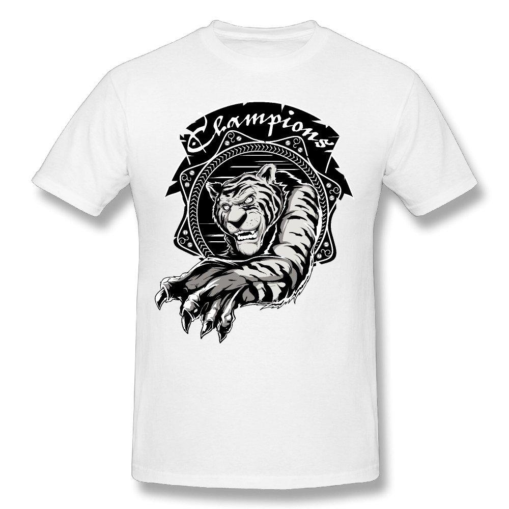 Lion Crew Neck Novelty Printed Shirts Mens Cotton Tshirt
