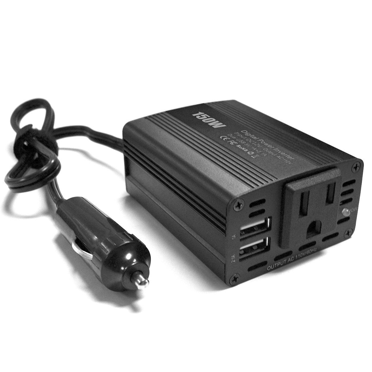 PowerEZ150W Car Power Inverter Solar Inverter DC 12V to 110V AC Converter with 3.1A Dual USB Charger