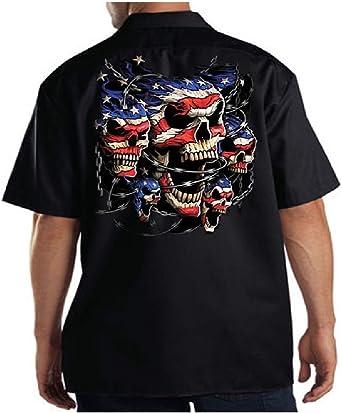 Men/'s Mechanic Work Shirt USA Flag American Pride