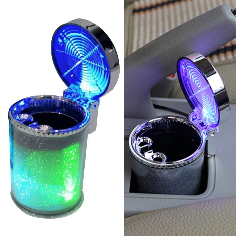 HshDUti Auto-Blaue LED Lichtanzeige Zigaretten Aschenbecher rauchloser Zylinder Beh/älter Halter 6 cm x 5 cm x 10 cm
