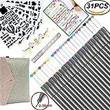 Bullet Journal Supplies 0.38 Fineliner Color Pen Set Fine Point Markers for Calendar Planner, Coloring Book, Sketch, Calligraphy, Art Project (24 Fine Tip Pens & 6 Stencils & 1 Ruler)
