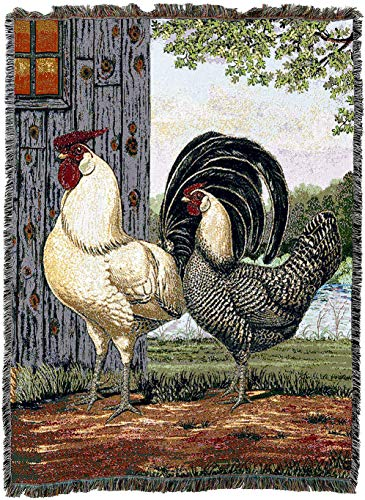 Pure Country Weavers - French Chicken and Rooster Blanket | Woven Tapestry Throw Blanket Cotton with Fringe Cotton USA 72x54