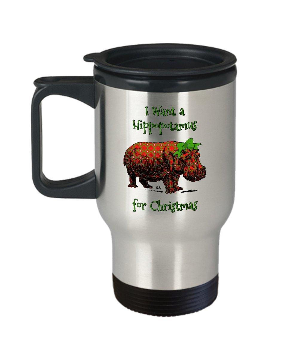 Amazon.com: Hippo Travel Mug - I Want a Hippopotamus for Christmas ...