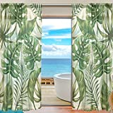 Sheer Voile Window Curtain Tropical Leaf Leaves Pattern Printed Polyester Material Fabric for Bedroom Decor Home Door Decoration Kitchen Living Room 2 Panels 78 x 55 inch