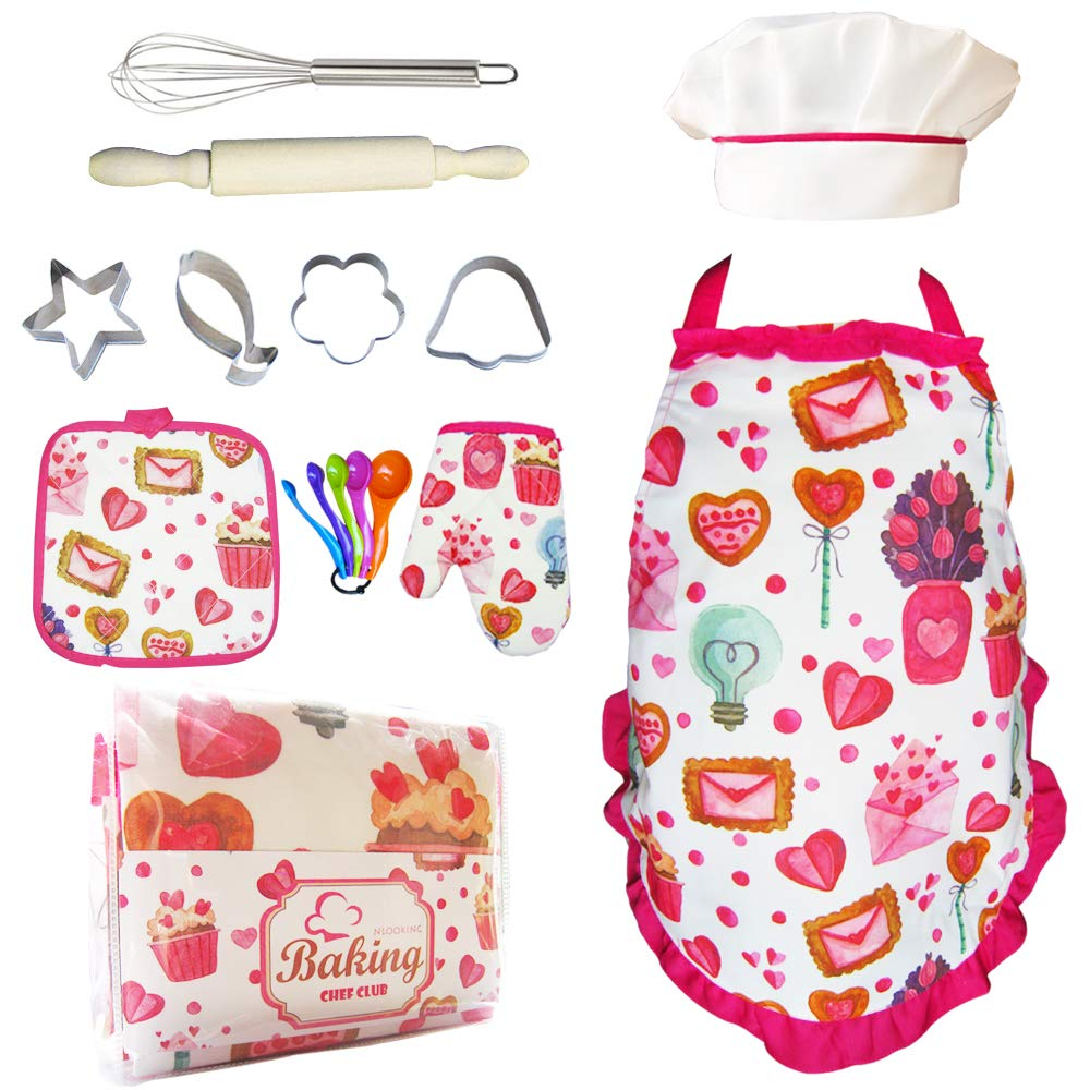 Cupcake Chef Set for Kids Cooking,Girls Baking Set with Heart Apron,Chef Hat,Oven Mitt for Toddler Pretend Play,Great Gift for Children Chef Role Playing Costumes,Ages 3+(Chef Set) by Nlooking