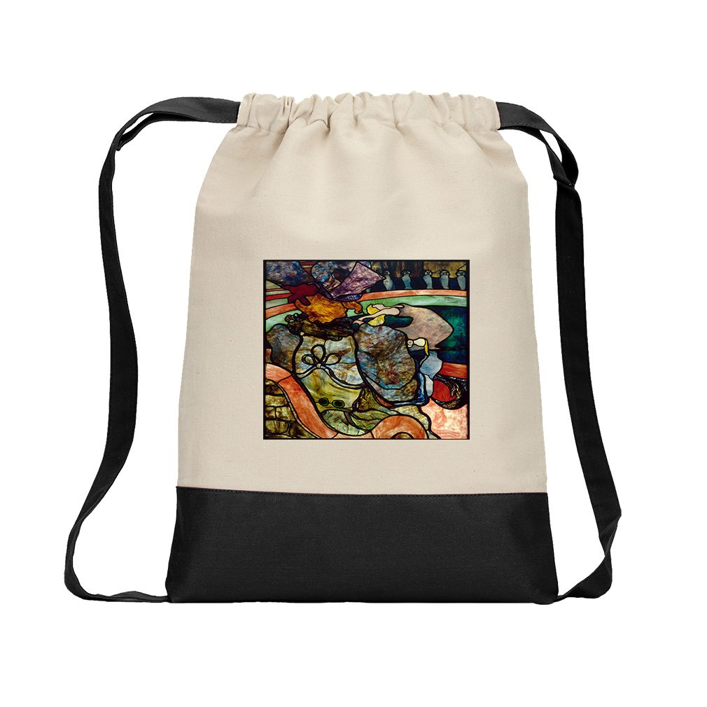Stained Glass (Toulouse Lautrec) Canvas Backpack Color Drawstring - Black