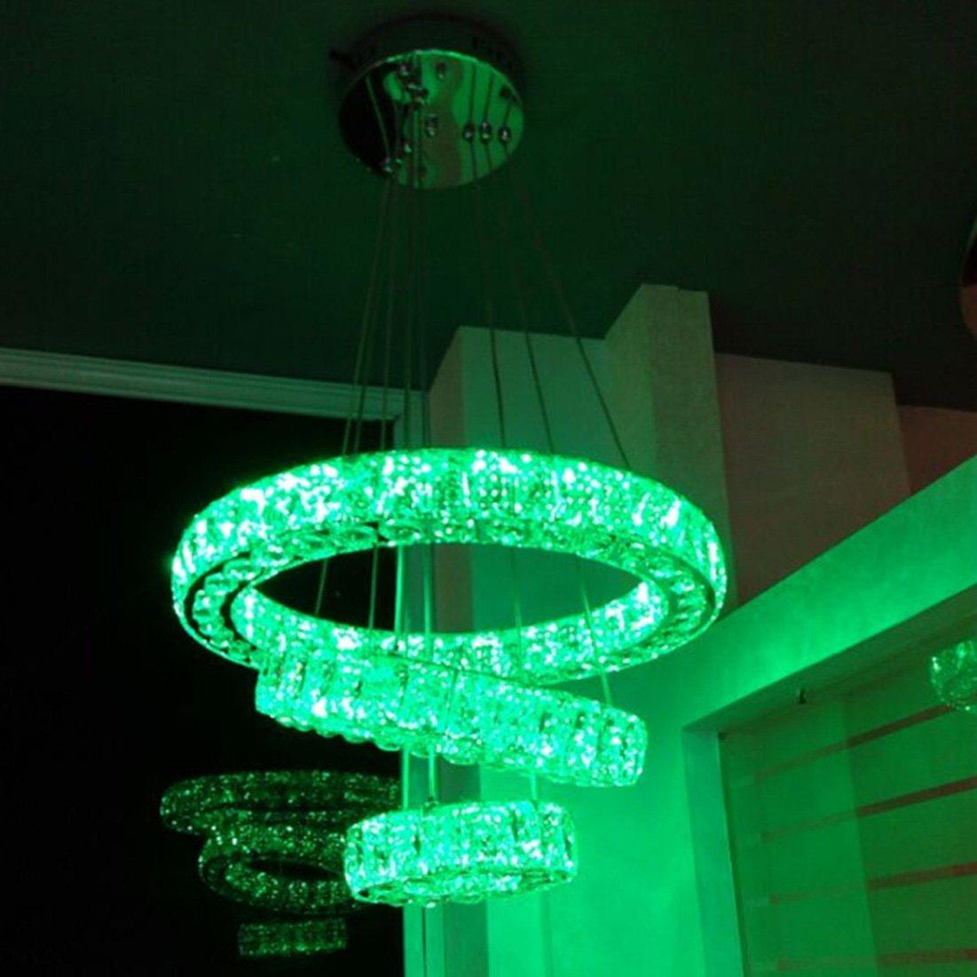 Ydxwan LED RGB DiscoloROT geformt Kristall Kronleuchter, Edelstahl, dimmbar, moderne moderne Wohnzimmer Kristall Kronleuchter, Kronleuchter