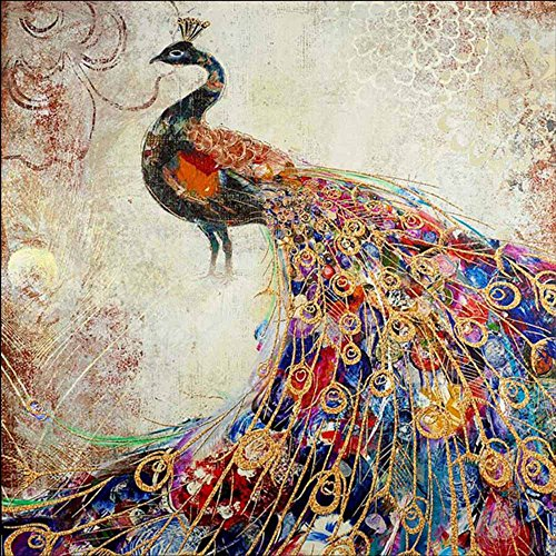 Sietore 5D DIY Diamond Painting by Number Kits for Audlts Embroidery Square Diamond Painting Wall Sticker for Wall Decor Gift,Landscape & Peacock Design (D) (Designs Embroidery Peacock)