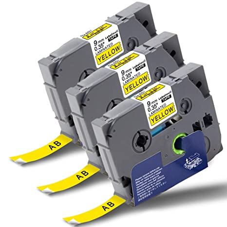 Labelwell TZ Tape 9mm x 8m TZe-S621 Compatible for Brother TZ-S621 Black on Yellow Strong Adhesive Label Tapes Cassette for Brother P-Touch PT-1000 PT-H110 PT-H101C PT-H105 PT-2030VP PT-P750W PT-E100