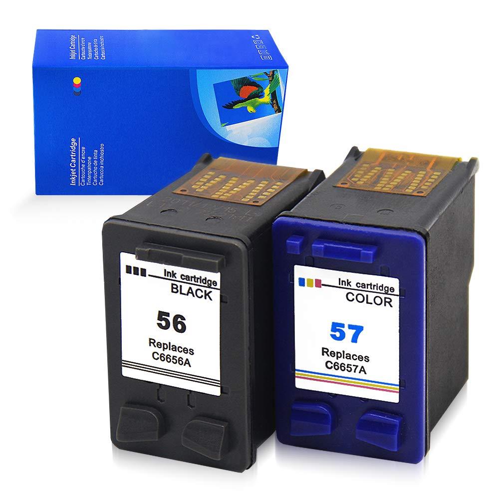 Ink_Seller, 56/57 - Cartuchos de tinta remanufacturados para HP 56/57, impresoras HP Photosma (2 unidades)