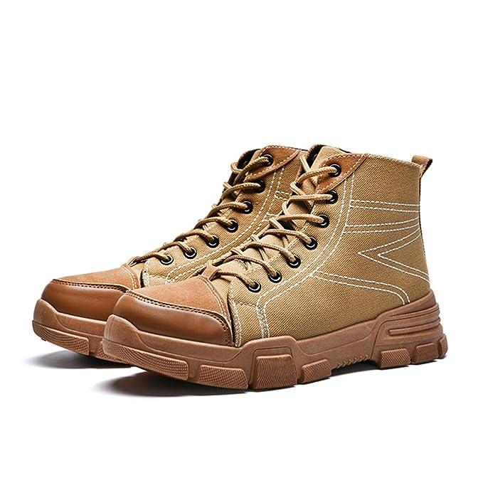 Apragaz Botas Chukka para Hombre Zapatillas de Deporte de Tacón Alto Gruesas de Estilo Británico Clásico Superior Británico Zapatos (Color : Marrón, ...