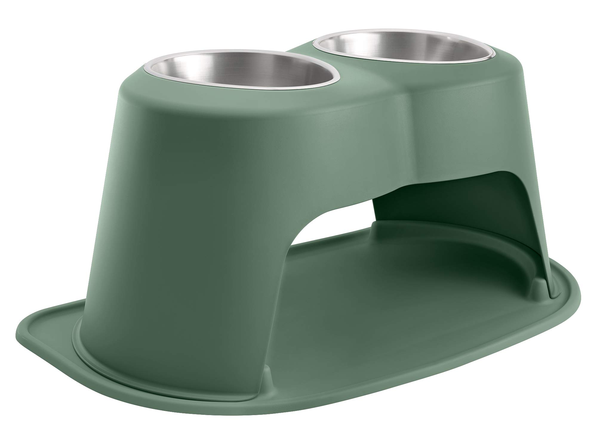 PetComfort Double High Feeding System with Standard Mat (14 inch, Hunter Green)
