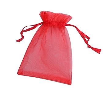 f5bd00c3a ONW Bolsas de Organza para Envolver Regalo Detalle de Boda Joyas Caramelo  Dulces Bolsitas para Regalos ,Rojo 100 PCS 15x20 cm: Amazon.es: Hogar