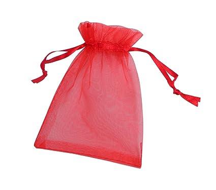 ONW Bolsas de Organza para Envolver Regalo Detalle de Boda Joyas Caramelo Dulces Bolsitas para Regalos ,Rojo 100 PCS 10x15cm