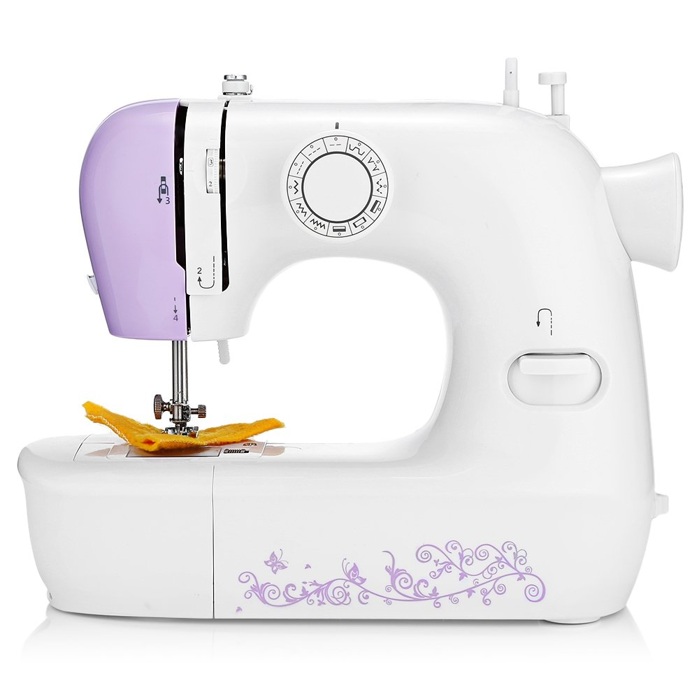 Sewing Machine, Mini Electric Household Automatic Thread Sew Machine Tool with Foot Treadle, Light Lamp, 12 Stitches for Shoes, Handcraft, Pets and Kids Clothes (White with Purple Flower) GBlife